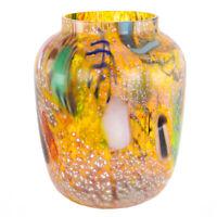 Vaso vetro di Murano multicolore con murrina e argento da collezione murano