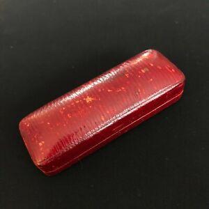 ANTIQUE RED LEATHER J.E. CALDWELL & CO STICKPIN JEWELRY BOX