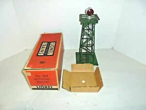 LIONEL 394 BEACON IN HARDER TO FIND DK GREEN & ORIGINAL BOX VINTAGE POSTWAR