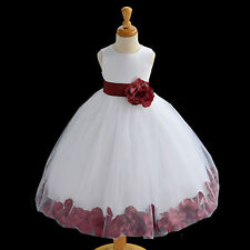 Flower Girl Dress Wedding Bridesmaid Birthday Pageant Graduation ROSE PETAL NEW