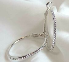 White Gold Hoop Earrings Polished Clear Crystal Snap Closure 18kgp