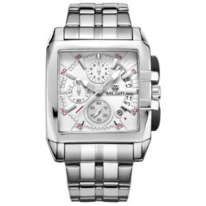 Smart Mens Megir Square Stainless Steel Chronograph Fashion Watch White Face