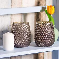 14cm Dimpled Glass Tea Light Pillar Candle Holder Candlestick Home Object Decor 2 X Holders
