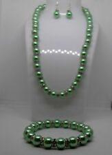 Beautiful Mint Green Pearl Necklace, Bracelet and Sterling Silver Earring Set