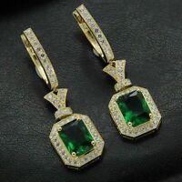 2 Ct Emerald Cut Emerald Diamond Women Earrings Drop Dangle 14K Yellow Gold Over
