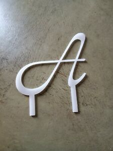 """Monogram Letter Initial Wedding Cake Topper Frosted. 7"""" tall x 6"""" wide .125"""