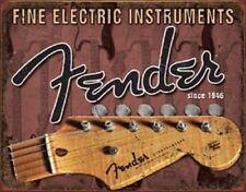 Fender Stratocaster TIN SIGN Metal Vintage Guitar Studio Wall Art Poster Ad