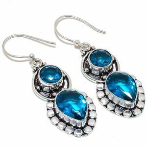 """Blue Topaz Gemstone 925 Sterling Silver Jewelry Earring Jewelry 2.1"""" S2661"""