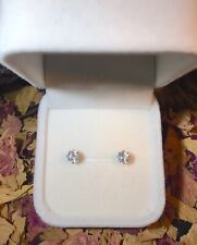 Certified natural White Sapphire 5mm cushion 14K yellow gold stud earrings ✨