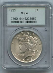 1924 Peace Dollar Common Date, Uncommon PCGS MS 64 Gen 2.1 Holder Super Scarce