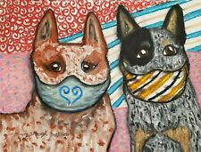 Australian Cattle Dog Masks Art Print 4x6 Dog Collectible Signed Artist Ksams