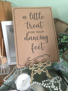 Dancing feet Sign A4 Vintage, cream or white. Wedding / Party  A4 flip flops