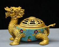 "7"" Chinese Bronze Gild Cloisonne Dragon tortoise Turtle incense burner Censer"
