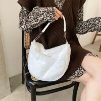 Lightweigh Chain Fluffy Plain Plush Lady Girl Messenger Shoulder Make Bag D2N8