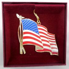 "Baldwin Brass 50 Star Flag  Ornament in Box Vintage 2001 3"" x 3 1/4"""