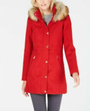 BNWT INC INTERNATIONAL CONCEPTS FAUX-FURTRIM WOVEN COAT - RED - TAG PRICE $275