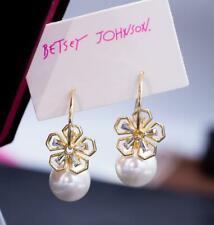 Betsey Johnson Crystal Rhinestone Gold Flower pear Drop Earrings Fashion Jewelry