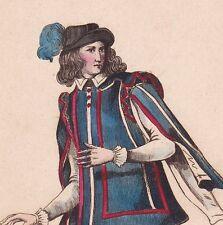 Portrait Valet de Pied du Roi Règne Henri III Costume Mandille