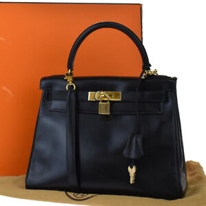 AUTHENTIC HERMES KELLY 28 2WAY HAND BAG BOX CALF LEATHER BLACK CADENA 920LB227