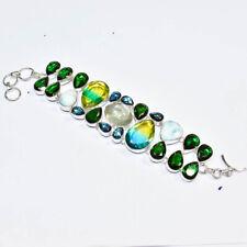 "Multi Bi-Color Tourmaline, Tourmaline Gemstone 925 Silver Jewelry Bracelet 7-8"""