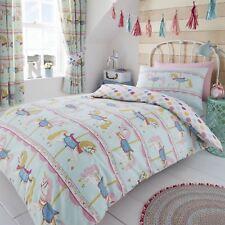 Hlc Girls Vintage Carousel Horses Teal Reversible Polka Dot Duvet Cover Curtains
