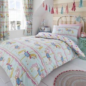 Happy Linen Company Girls Kids Rainbows Sunshine Stripes White Single Reversible Duvet Cover Bedding Set