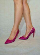 Mango Cerise Heels Court Shoes Women Lady Stiletto Real Suede Lace Mesh Size 6