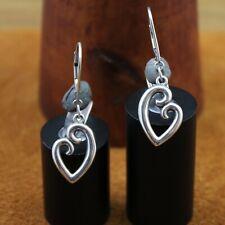 "James Avery ""Mother's Love"" Heart Leverback Earrings Sterling Silver 1 9/16"""