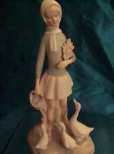 Girl With Geese Porcelain Bisque Figurine