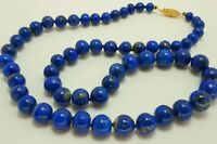 Vintage Lapis Lazuli 14k Yellow Gold Clasp Knotted Strand Bead Necklace 20""