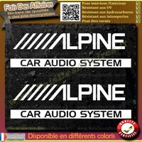 2 Stickers Autocollant alpine car audio system decal sponsor autoradio tuning
