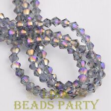 New 100pcs 4mm Bicone Faceted Crystal Glass Loose Spacer Beads Bulk Purple