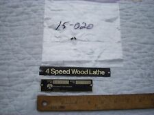 """Name and Model/Serial number plate/badges11"""" Delta Rockwell Wood Lathe #46-111"""