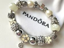 "EUROPEAN STYLE CHARM BRACELET with MURANO BEADS, 7.9"" Long+VELVET POUCH"