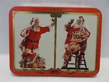 Coca Cola Nostalgia No. #334 Double Deck Santa Playing Cards With Tin Case 1994!