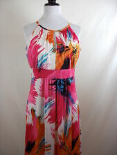 PINK & ORANGE TROPICAL FLORAL PRINT SPAGHETTI STRAPS SHORT DRESS/ COVER UP SMALL