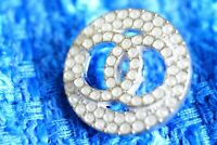 100% Chanel button 1 pieces  cc logo 21 mm 0,8 inch White ❤❤❤emblem