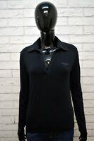 Polo Nera Donna CALVIN KLEIN Taglia M Maglietta Maglia Manica Lunga Shirt Woman