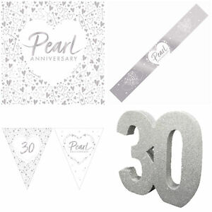 Pearl 30th Anniversary Decorations Set Tableware Bunting Banners Balloons