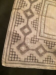 Amazing! Antique Victorian Geometric Design Hand Embroidery Batiste Handkerchief