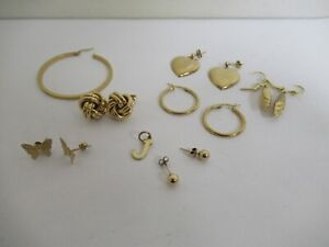 Lot of 375 / 9ct Gold Scrap Earrings and Pendant 9.9g (LOT G)