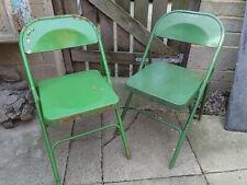 SET 2 Pair Industrial Vintage Retro Rustic Metal Folding Chairs Green 60s Campin