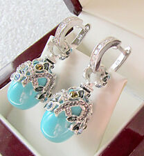 SALE !  GENUINE TURQUOISE STERLING SILVER 925  EARRINGS decorated with enamel