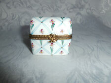 LIMOGES DUBARRY CHEST SHAPED TRINKET BOX WITH PINK FLORAL PATTERN & FLORAL CLASP