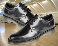 Mens Black Leather High Shine Plain Uniform Shoes, Air Cushion Soles By Grafters