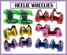 Adjustable Heelie Wheelies/Skates, Colourful Flashing LED Wheels All Colours