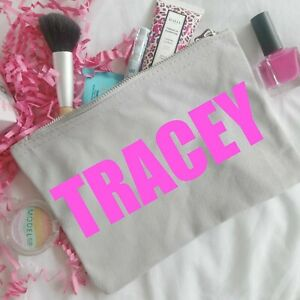Personalised Grey Make Up Bag With Name In Colour of Your Choice Mum Sister Gift