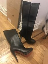 Black Leather Boots Knee High Heels