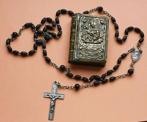 Antique - Vintage Box With a Black Rosary - Our Lady