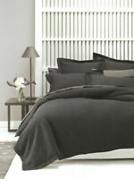 Linen House Deluxe Waffle Charcoal Duvet Quilt Cover Set, Tailored edges | Queen